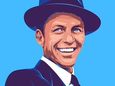 Frank Sinatra portrait photorealistic famous blue color man illustration vector portrait