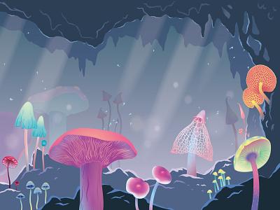 Different types of mushrooms, part 2 graphic design landscape nature mountain stone peak stalactites rocks fluff forest hallucinations psilocybin magic lighting fog cave mushrooms art vector illustration