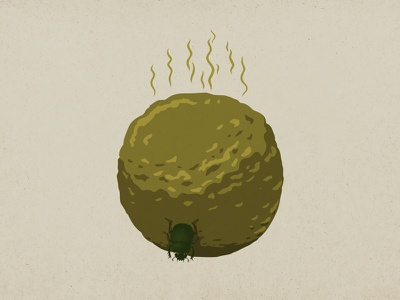 The beetle, rolling a ball of shit ball shit vector illustration humor flat illustration