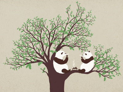 Tea Ceremony panda tree tea flat illustration 2d character animal humor vector illustration