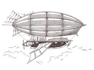 Airship steampunk sketch art vector illustration
