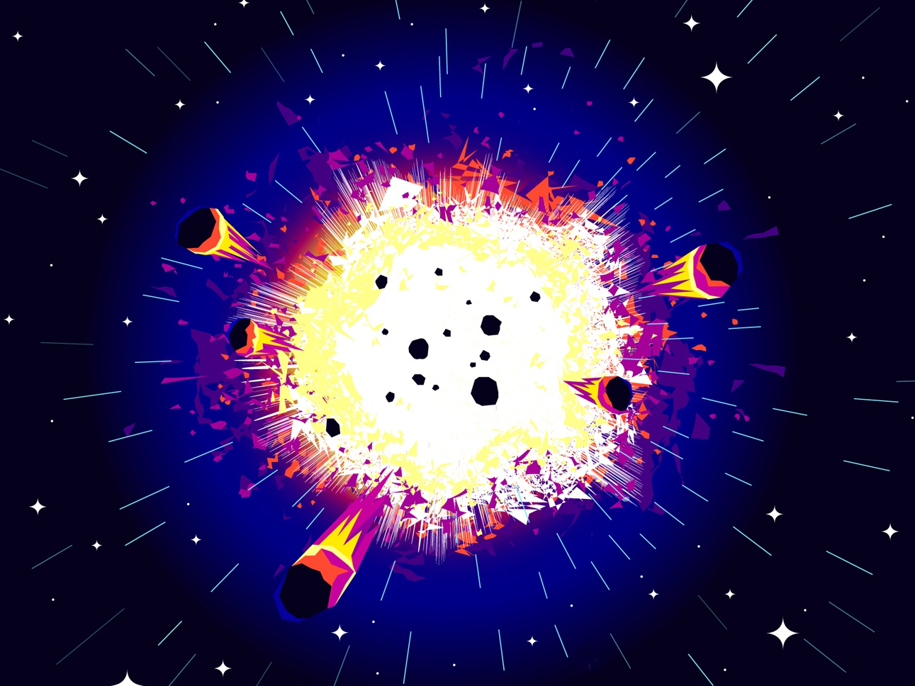 Big bang planets stars universe cosmos space vector explosion big bang illustration