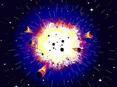 Big bang planets stars universe cosmos space vector explosion big bang illustration