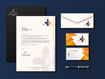 PHARMA FUTURA-Brand Identity business card letterhead logo company logo branding brand design sketchapp vector illustration minimal flat design