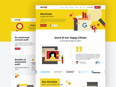 aboveX - web design web design vector illustration ui flat grants google adobe xd illustrator illustrations webdesign website