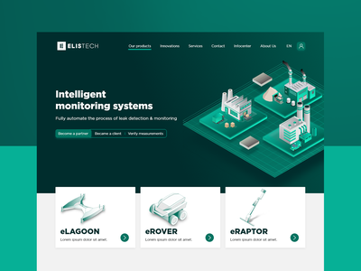 ELISTECH startup factory green technology adobe xd illustration webdesign flat web ui design