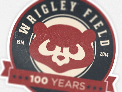 Wrigley Field 100th Anniversary Badge cubs wrigley logo badge blue red