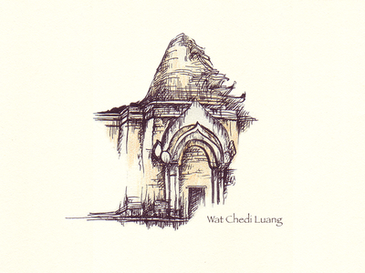 Wat Cheid Luang sketch illustration