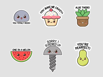 Pun Stickers doodle graphic artist character vector illustration ui vector graphic illustration graphic  design inspiration