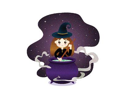 Kawaii Witch graphic artist illustrator graphic illustration design graphic  design inspiration