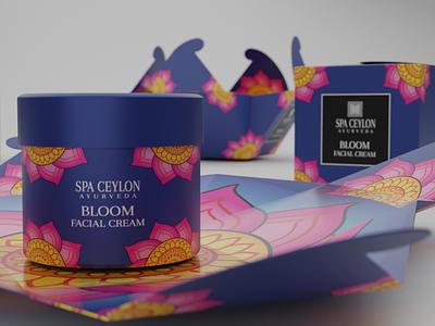 Packaging Design for SPA CEYLON BLOOM Face Cream illustrator graphic packaging design packaging graphic  design inspiration branding