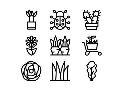 Spring Black Outline Icon Set icon design iconset icons pack design ui app icons seasonal seasons icon designs icon set season spring icon