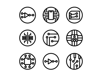 Electrical Icon Set Outline Style design icons pack icon set icons iconset icon artificialintelligence processor computer circuit electronics electricity electric electronic