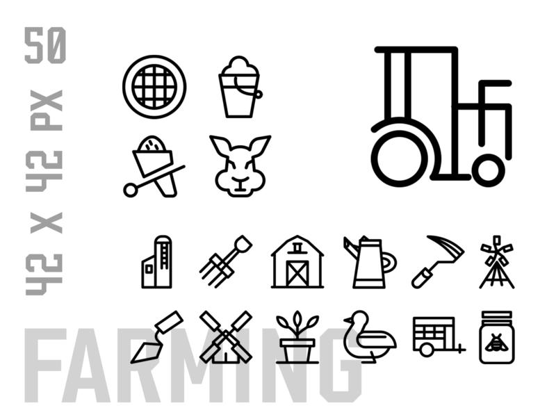 Farming Icon Set logo icons pack design ux icon design icon set iconset ui icons icon