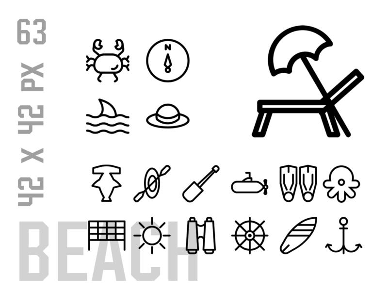 Beach Icon Set icon set icons pack logo icon design iconset design icons icon holiday vacation beach party beach