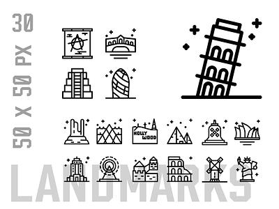 Landmarks Icon Set icon design logo ux ui icon set icons iconset icon landmark world country monuments landmarks