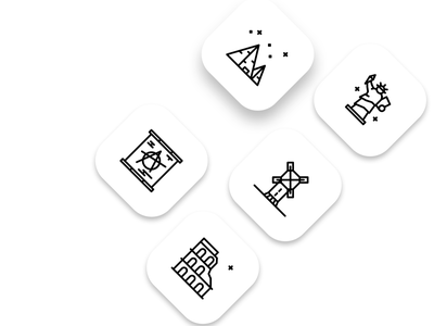 Landmarks Icon logo illustration iconset icons pack icon design icon set landing page icons icon windmill egypt liberty rome landmarks
