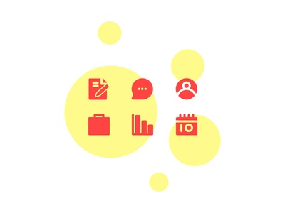 Busines & Management Icon Set With Solid Style