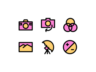 Photography Filled Style Icon Set