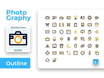 Photography Icon Set Colorized Outline Style web business management app minimal typography ux illustration flat ui logo management design photograph photography icon sets icons pack iconset icons icon app