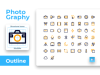 Photography Icon Set Colorized Outline Style