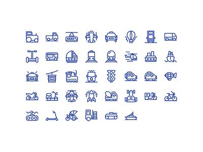 Transportation Outline Icon Set iconset icons ux design ui app icon transportationdesign sport motorcycles motorcycle vehicle car transportation