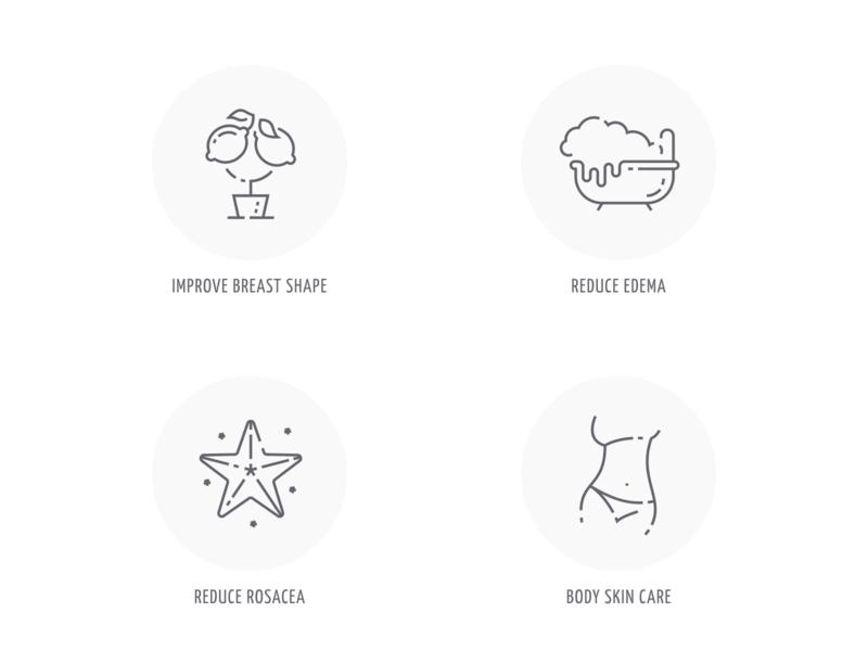Quiz icons for cream.ly website natural cosmetics website web icons vector ui design