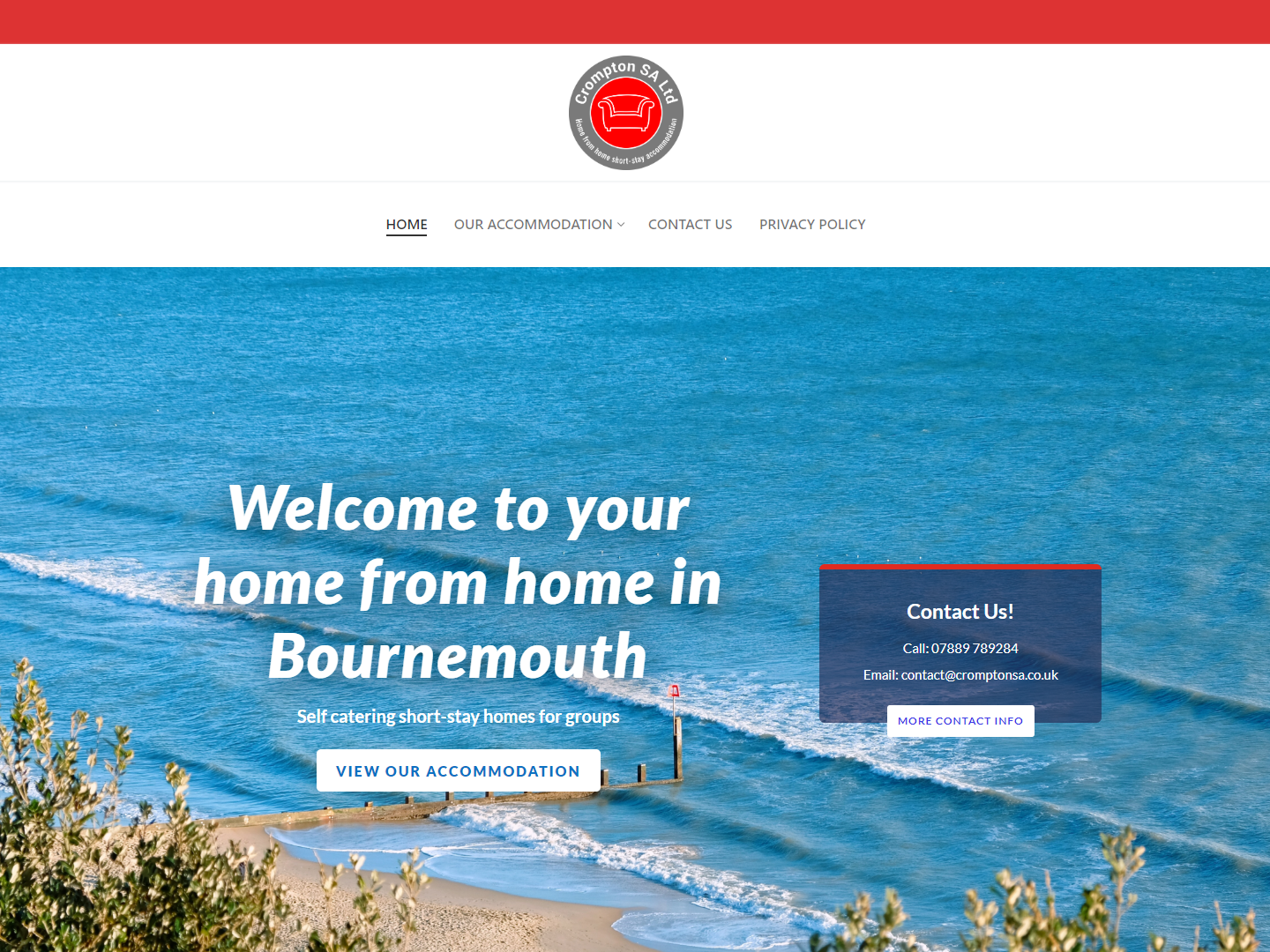 Crompton SA - Serviced Accommodation in Bournemouth api logo javascript html css ux  ui photoshop cloudflare wordpress website design bournemouth serviced accommodation