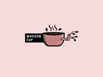 wooden cup flatdesign cup of coffee cup wooden illustration cute