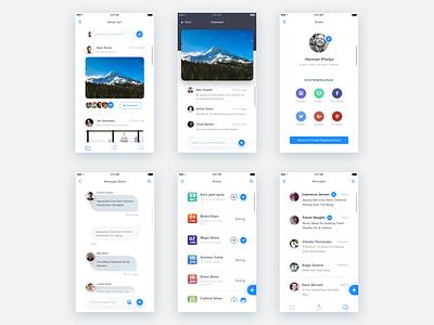 Neighbourhood app - Concept mobile app design tabs groups comments feeds chat neighbourhood social ui ux design