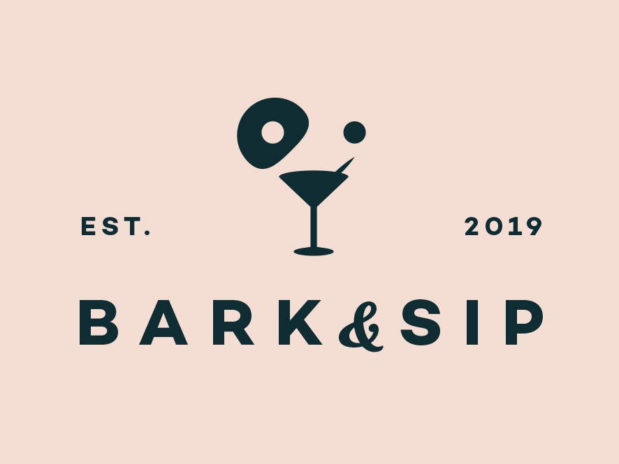 Bark And Sip Logo app clever type lettering vector typography beverages bar animal minimal illustrator identity dog icon flat design clean logo illustration branding
