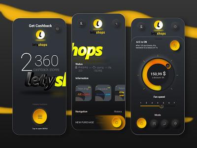 Cashback mobile App  For LetyShops yellow color mobile app app letyshops cashback cash branding cinema4d 3d art иллюстрация design дизайн vector