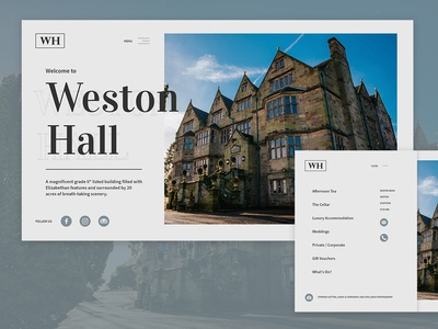 Weston Hall Web & Menu Design
