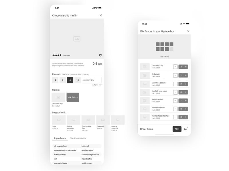 baking app wireframes ui mobile app food e-commerce app baking app design app mobile app design wireframes wireframe mobile ui mobile