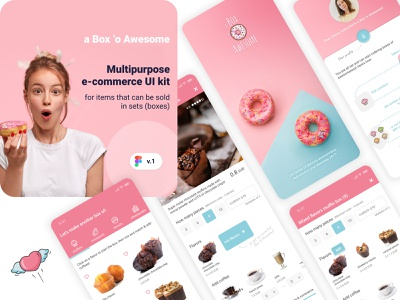 A Box 'o Awesome. Premium FIGMA e-commerce UI kit for sale kit e-commerce app e-commerce bakery mobile kit mobile design mobile app design mobile ui figma ui figma product forsale giveaway give uikit ui