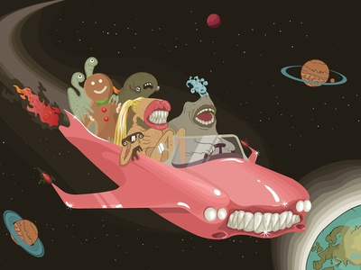 Alien Freak Ride adobe illustrator vector art illustraion