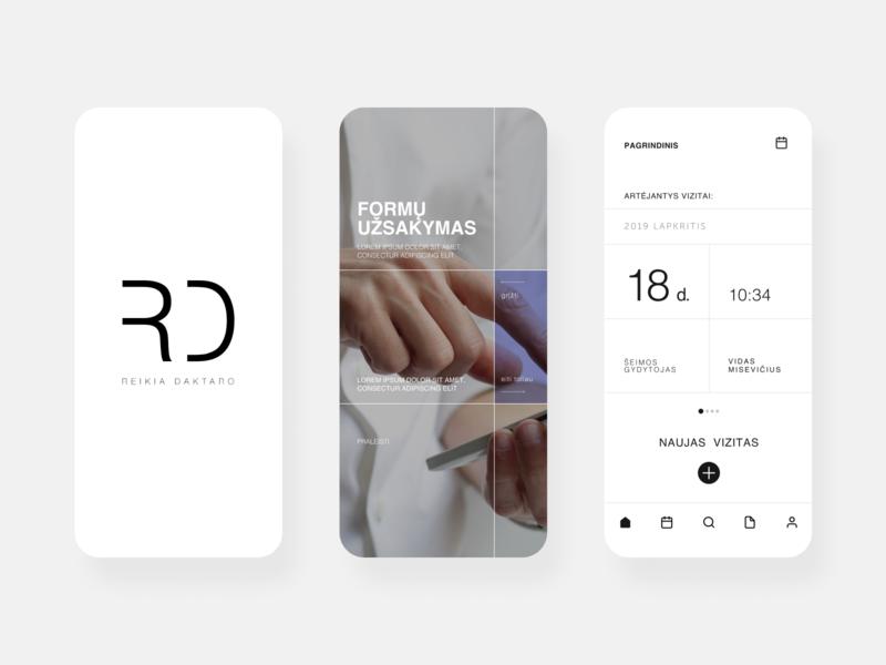 Mobile app: Reikia Daktaro modern structure minimal aesthetics app cases typography vector ux logo ui design
