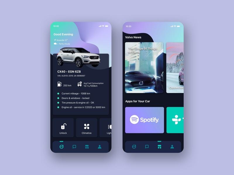Volvo Car Mobile App sketch uidesigner uidesign volvo mobileapp