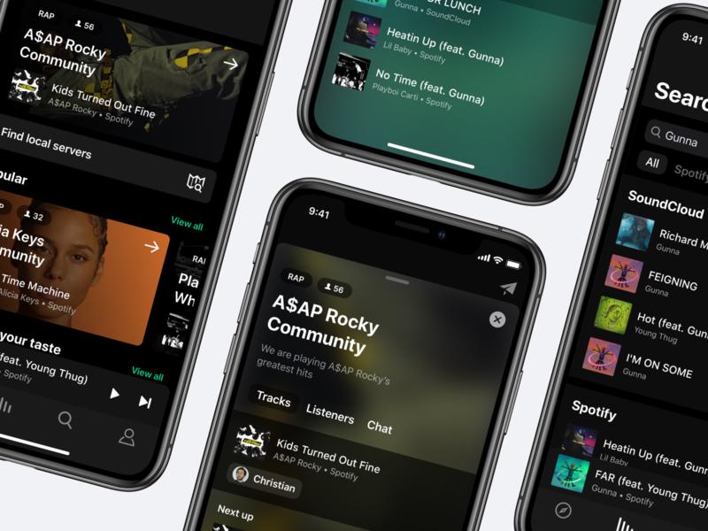 SoundSquad - Social Music Player musician uidesign mobile mobile app design server community ux ui music player ui app app design music social music app music player music app