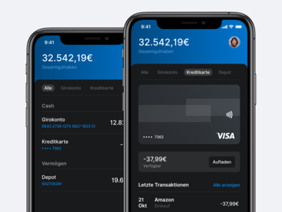Mobile Banking App in Dark Mode