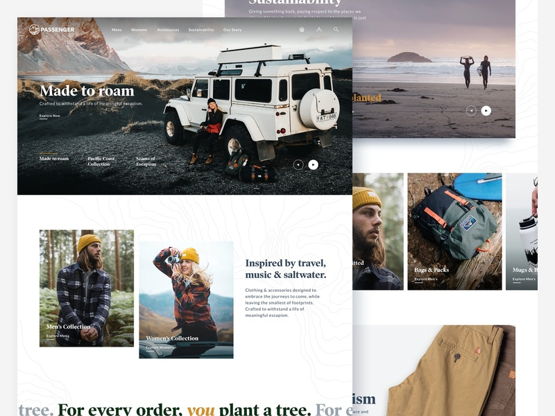 Passenger Concept Site ecommerce design ecommerce website concept website design ux website ui typography outdoors branding web design clean