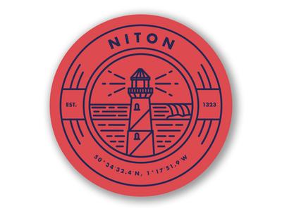 Niton sticker badge clean circle simple line illustration surf