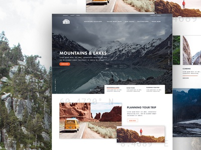 Mountains   Lakes adventure outdoors nature user interface ui website header typography type texture clean web