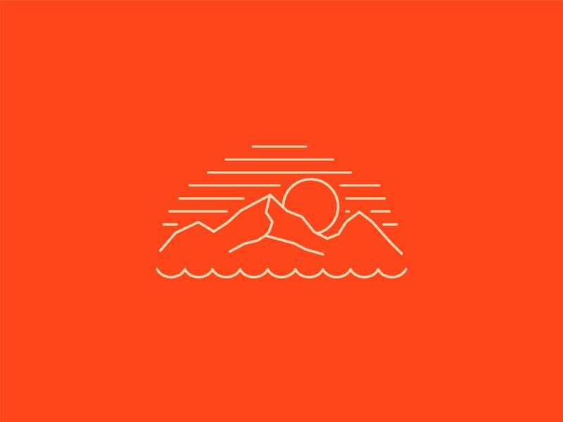 Mountain & Sea mountain sea sun line line art branding icon vector design simple illustration clean