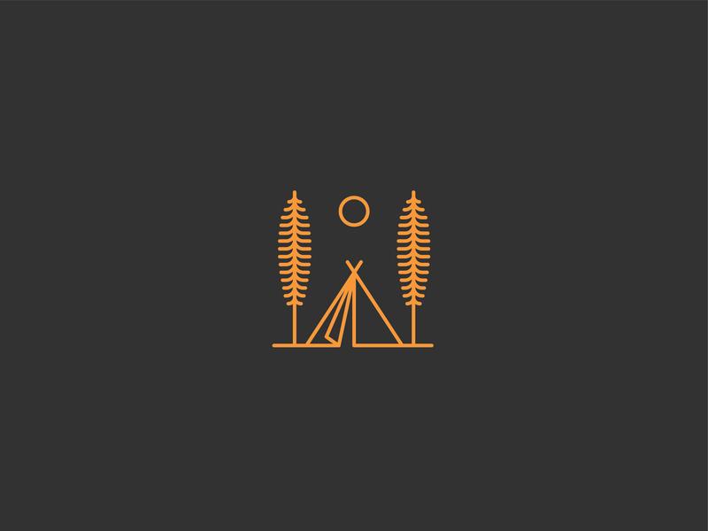 Camp camp line line art branding design vector simple illustration clean
