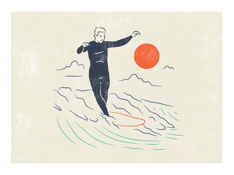 Cross Step illustraion sunset surfing surf t-shirt illustration t-shirt design colours colour colorful color simple branding vector illustration design