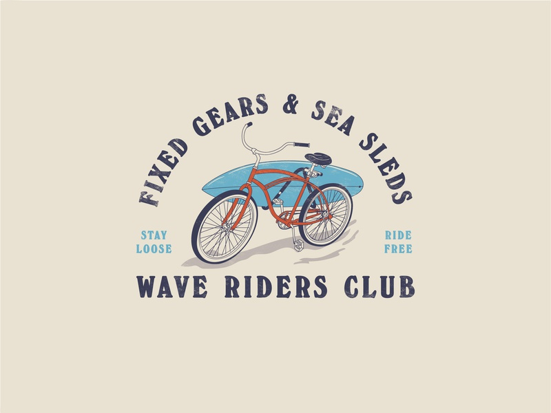Wave Riders Club logo branding typography vector outdoors illustration design simple