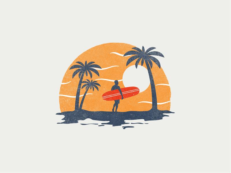 Beach palm tree beach surf colour icon vector illustration simple