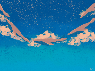Anime Landscape #2 whales illustrations whales smooth anime landscape illustration stars blue warm colors sky clouds grain texture flat illustration flatdesign wacom intuos illustrator illustration art illustration