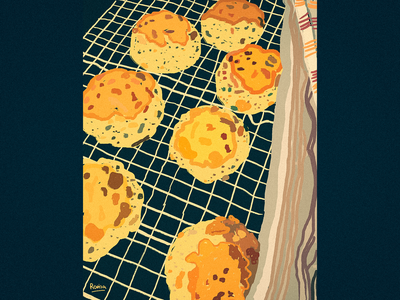 Yummy Food #1 yummy food delicious food drawing scones yellow foodillustration food yummy grain texture flat illustration flatdesign wacom intuos illustrator illustration art illustration